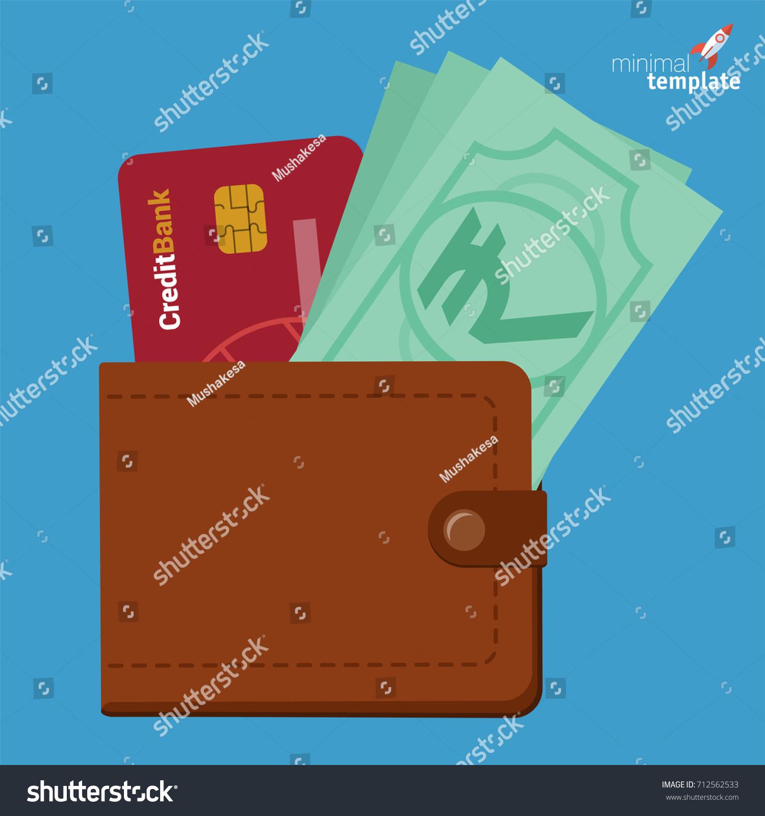 Indian Rupee Credit Card Cash Purse Stock Vector 712562533 ...