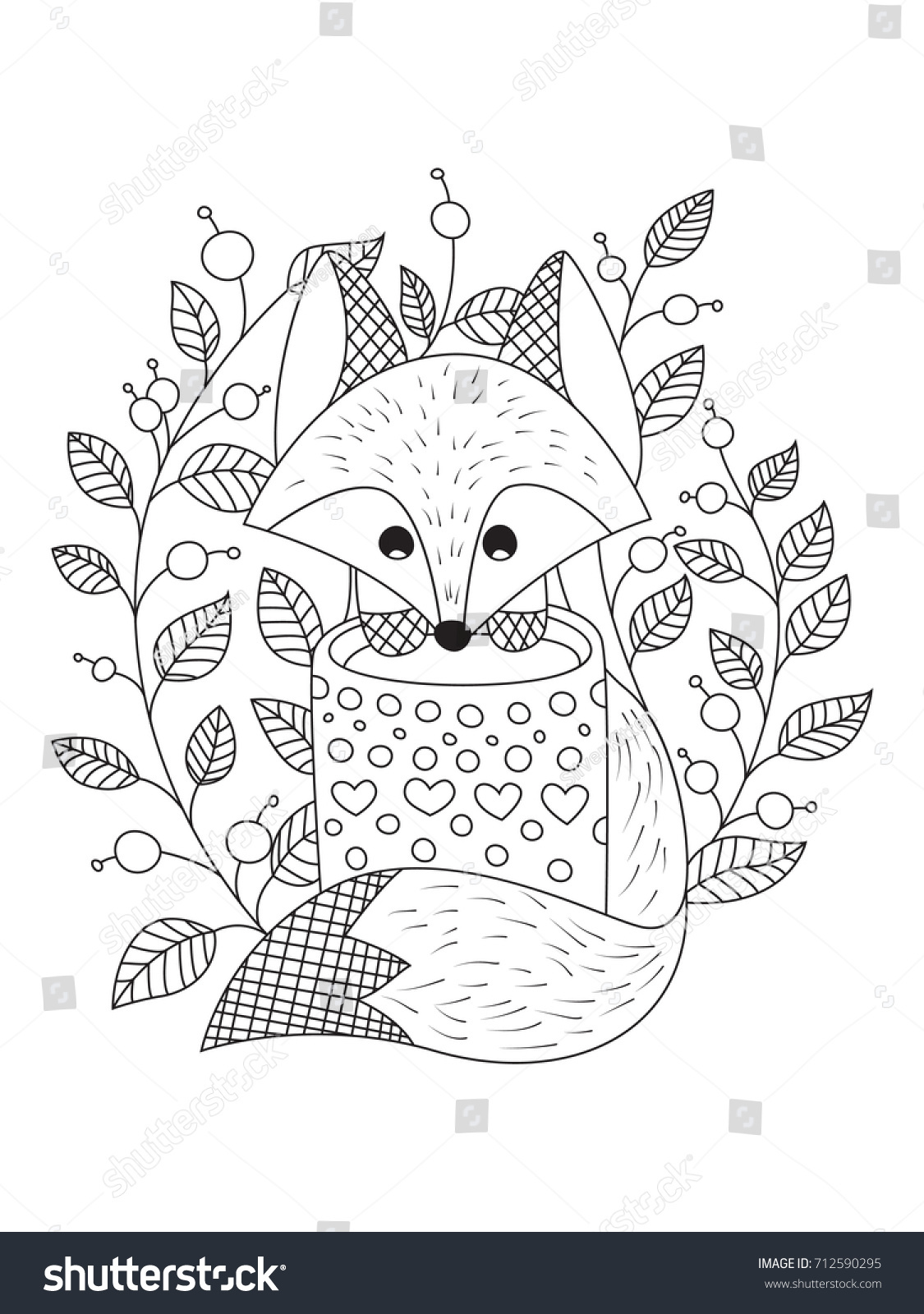 Outlined Doodle Antistress Coloring Book Page Stock Vector ...