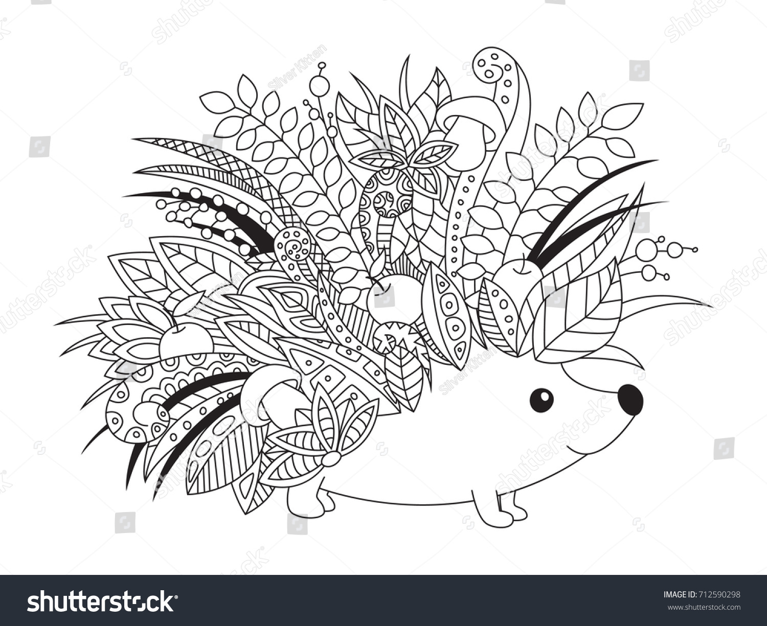 Outlined Doodle Antistress Coloring Book Page Stock Vector Royalty