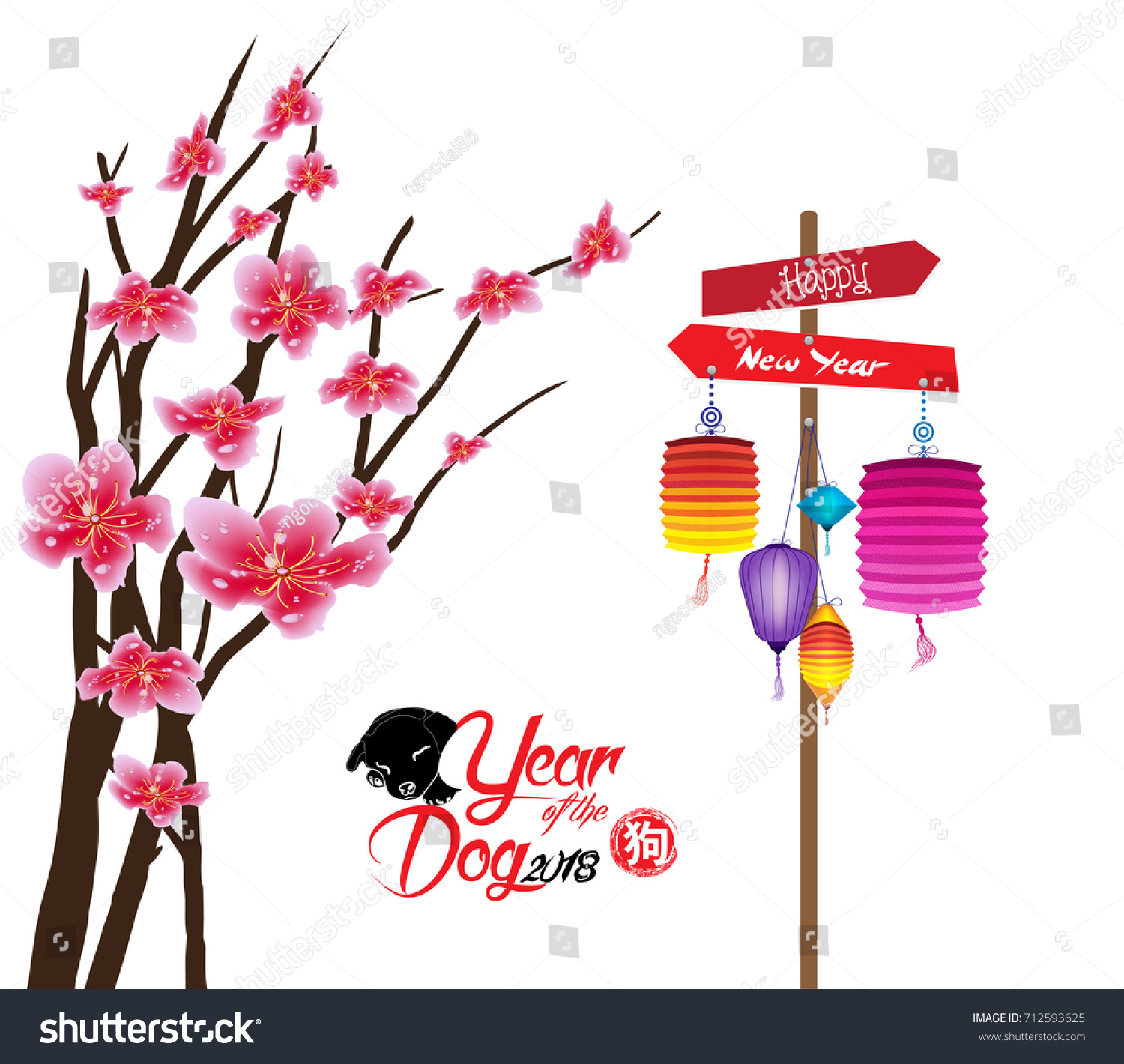 sakura flowers background cherry blossom and lantern isolated white background chinese new year 2018
