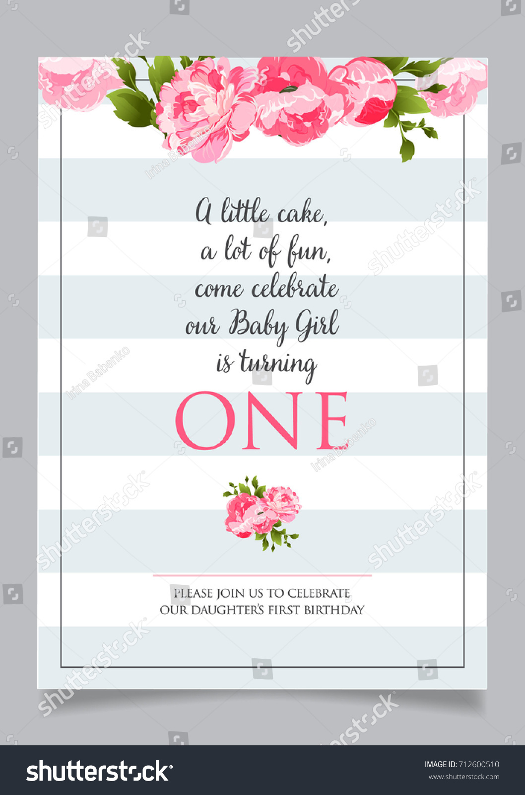First Birthday Invitation Girl One Year Stock Vector 712600510 ...