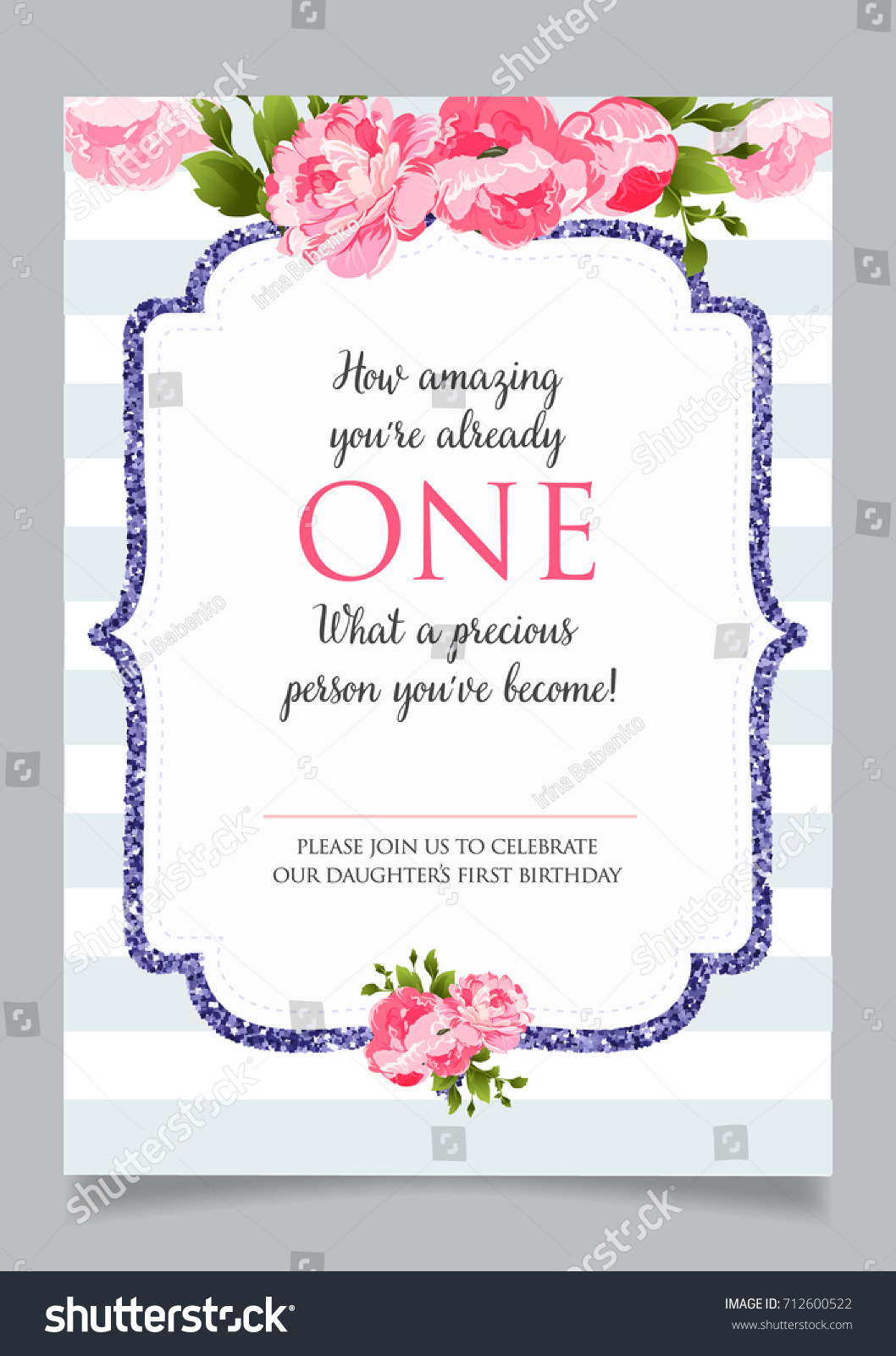 First Birthday Invitation Girl One Year Stock Vector 712600522 ...