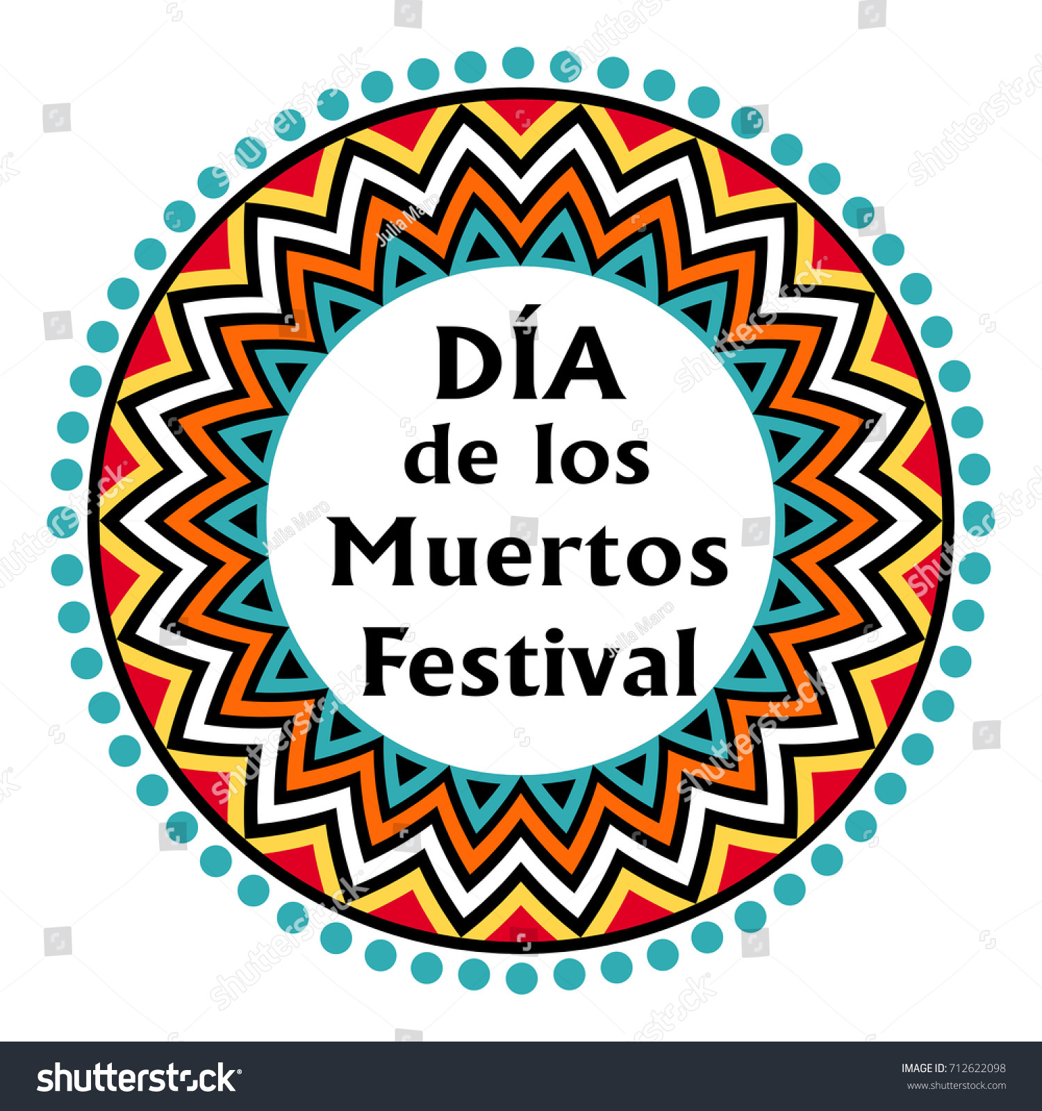 Dia De Los Muertos Fiesta Round Stock Vector (Royalty Free ...