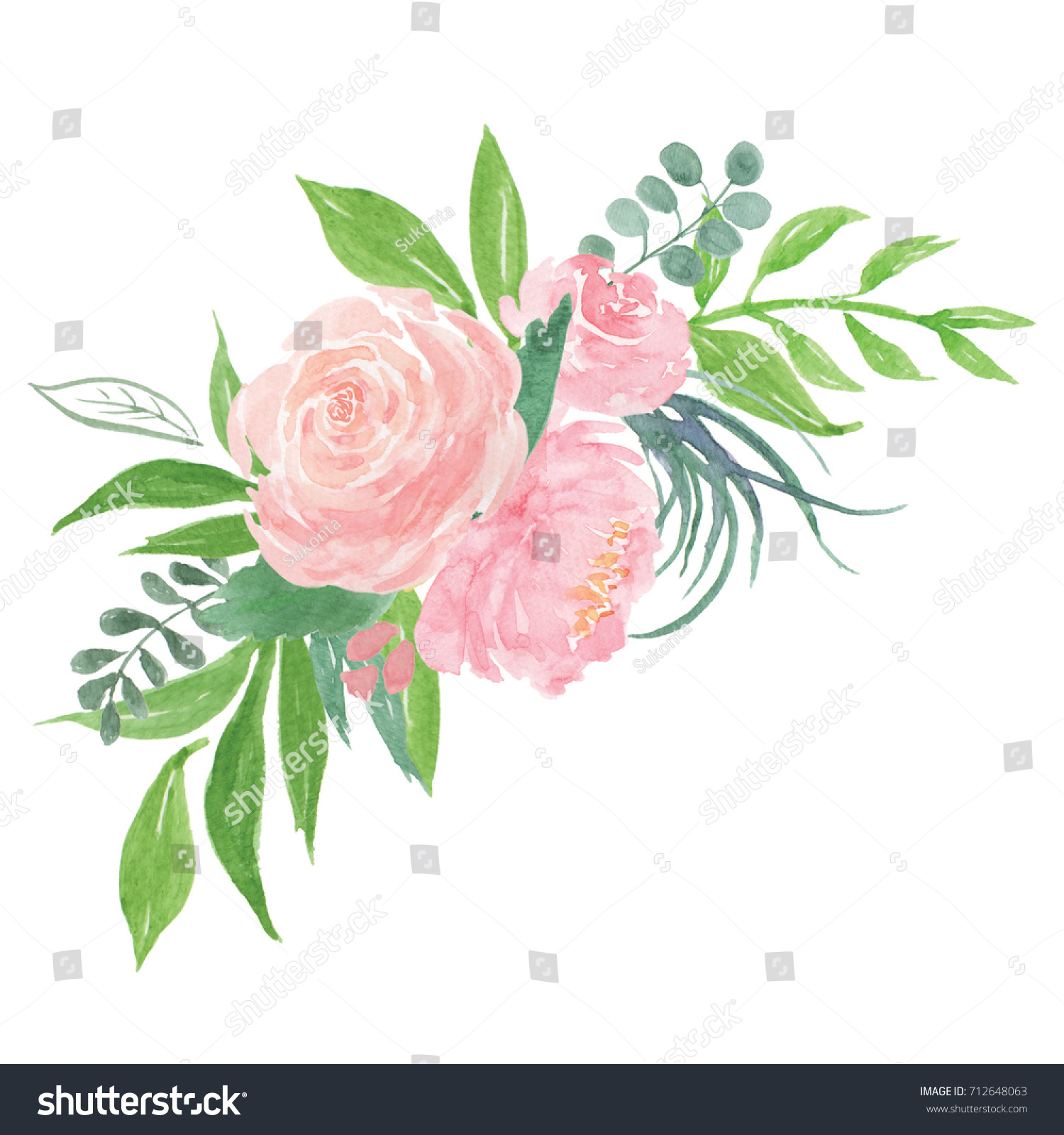 Peony Flowers bouquet watercolor Illustration frame. Beautiful ...