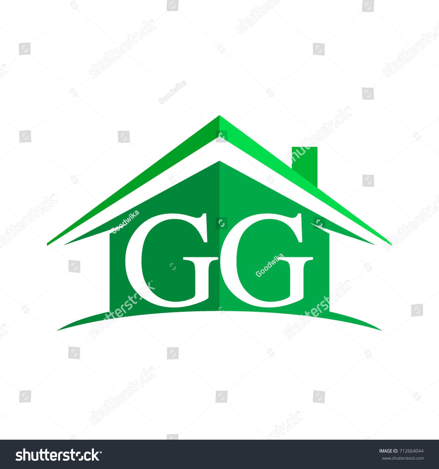 Initial Logo Gg House Icon Green Stock Vector 712664044 Shutterstock