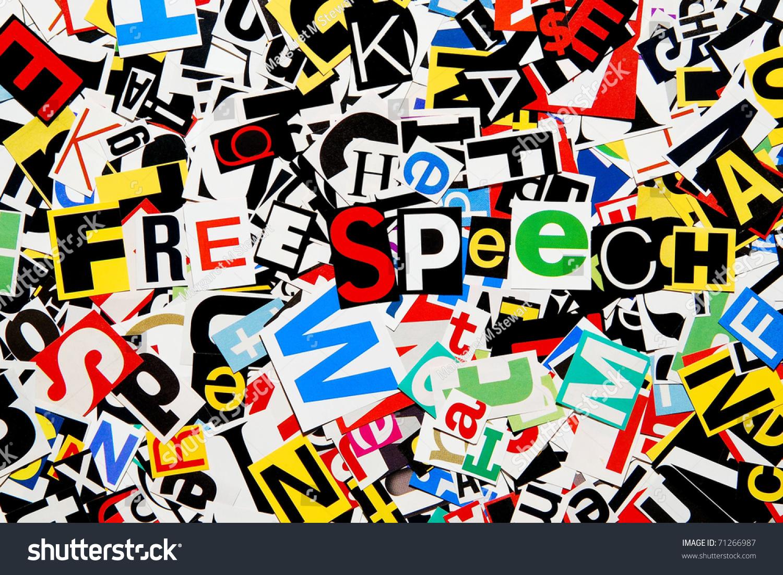 U0026quot Free Speech U0026quot  Written On A Pile Of Colorful Cutout Ransom