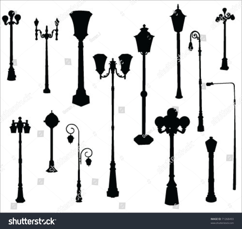 Street Garden Lamps Vector Stock Vector 71268493 Shutterstock