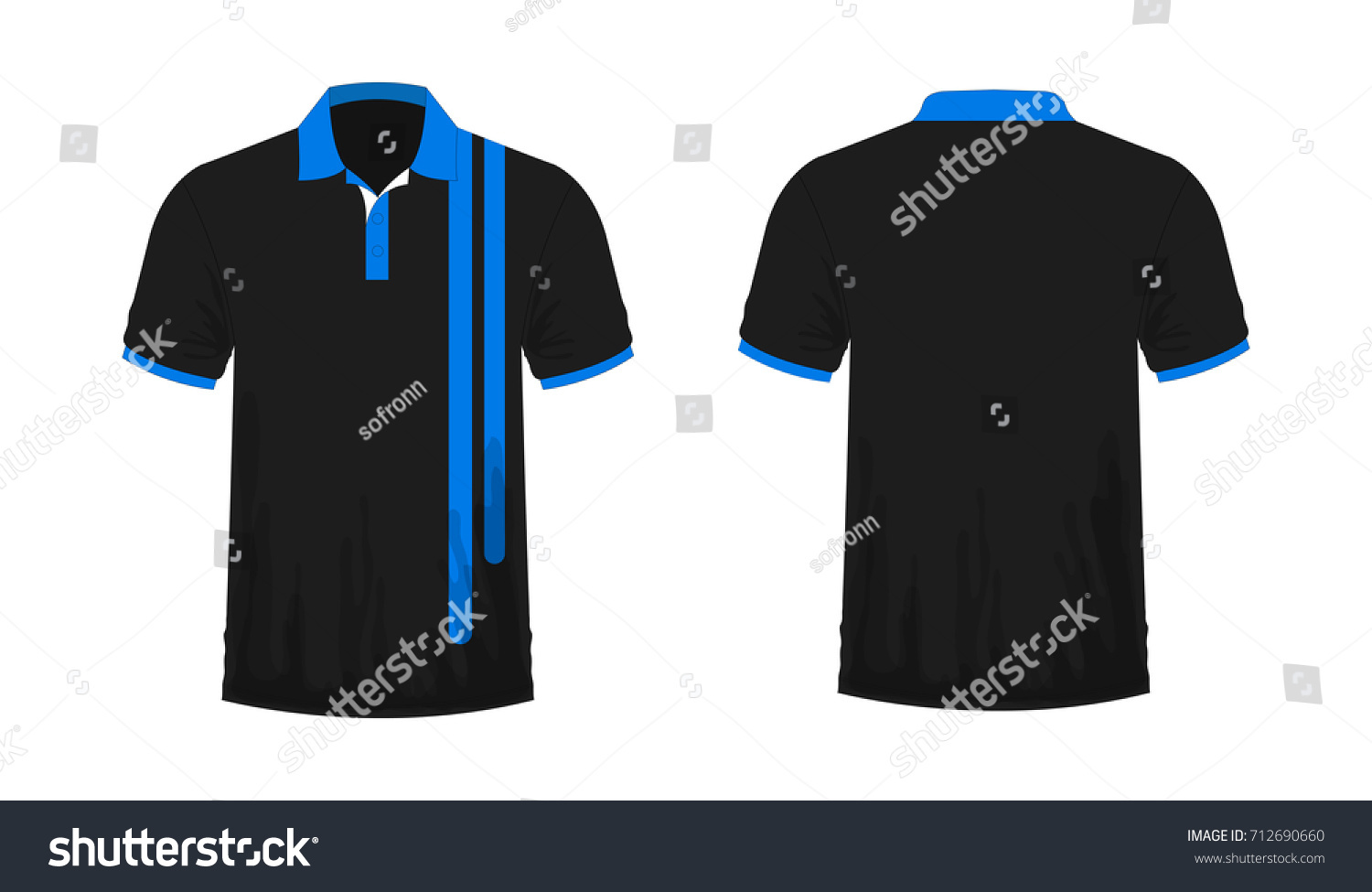 White t shirt eps - T Shirt Polo Blue And Black Template For Design On White Background Vector Illustration