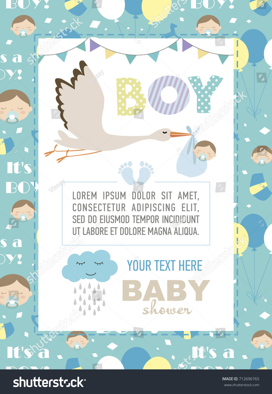 Cute Baby Shower Invitation Card Vector Wektorowa Ilustracja