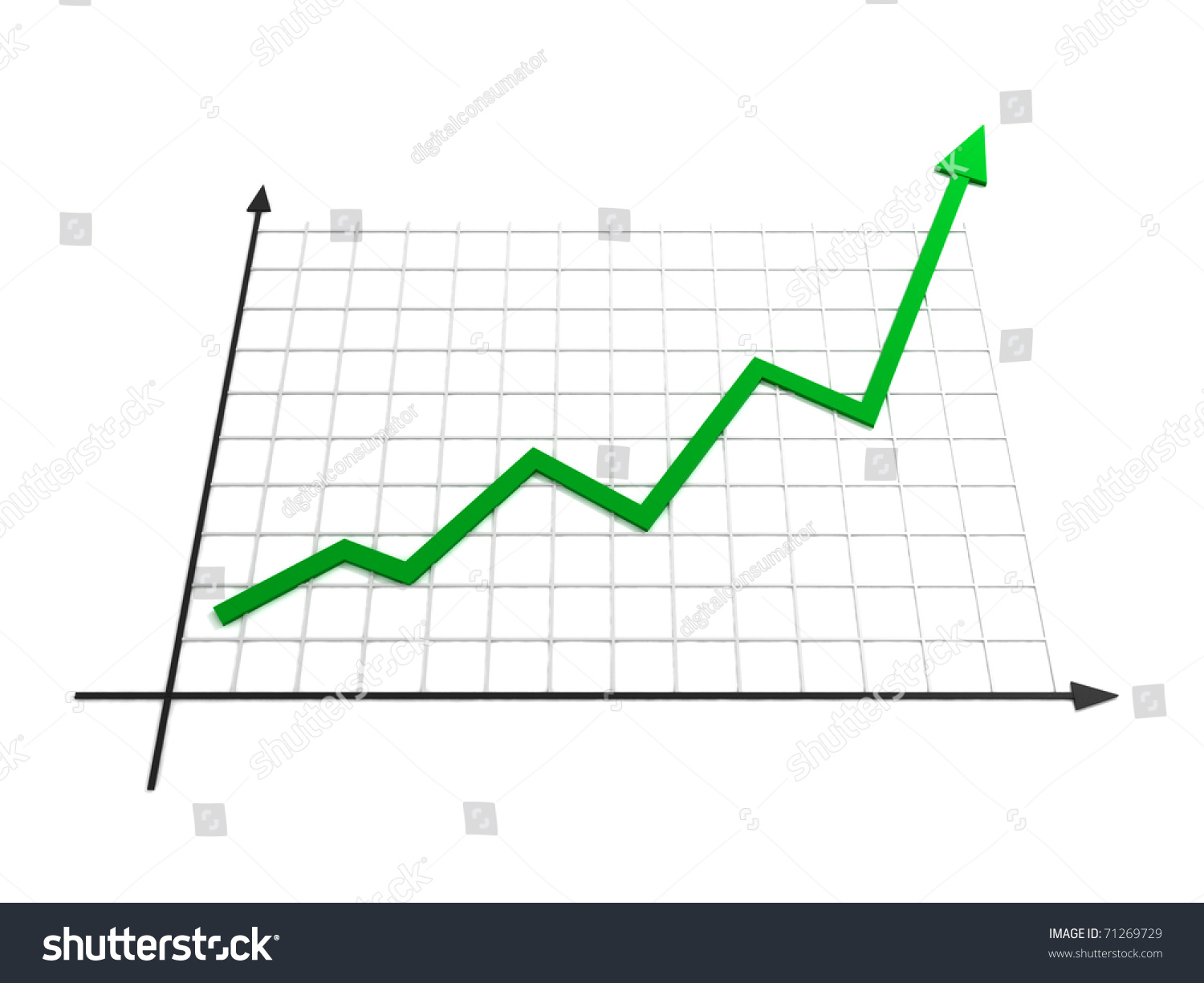 business growth line chart 3 d illustration stock illustration