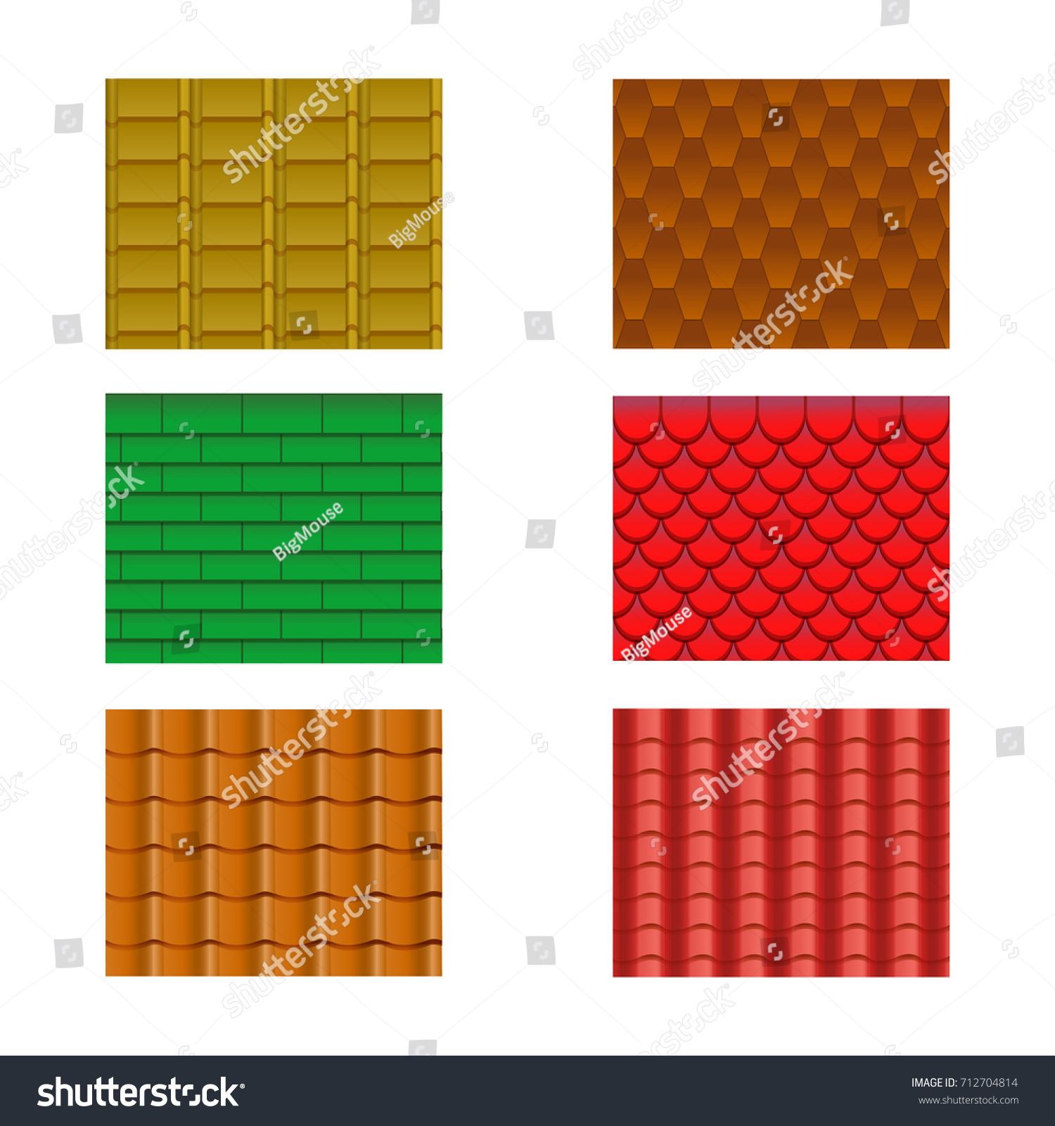 Color Roof Tiles Set Construction Material Stock Vector Royalty Free 712704814
