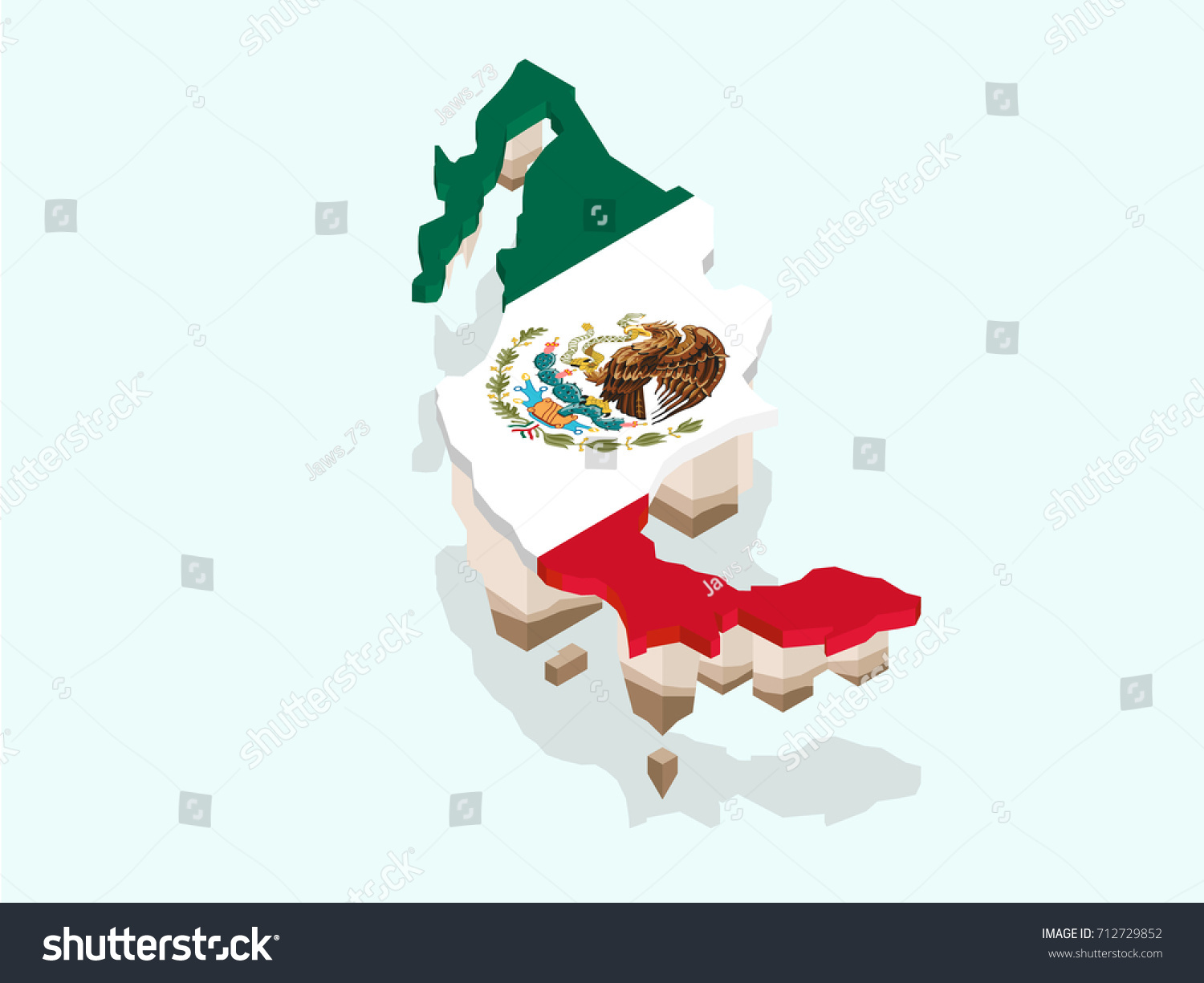 Map United Mexican States Flag Isometric Stock Vector (Royalty Free ...