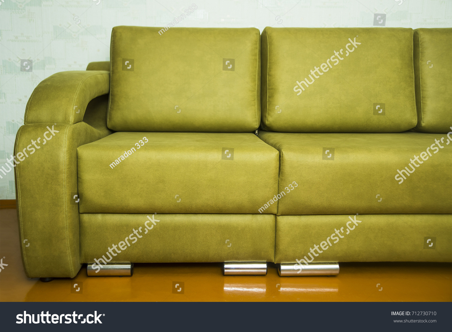 Interior Green Olive Color Coach Empty Stock Photo (Royalty Free ...