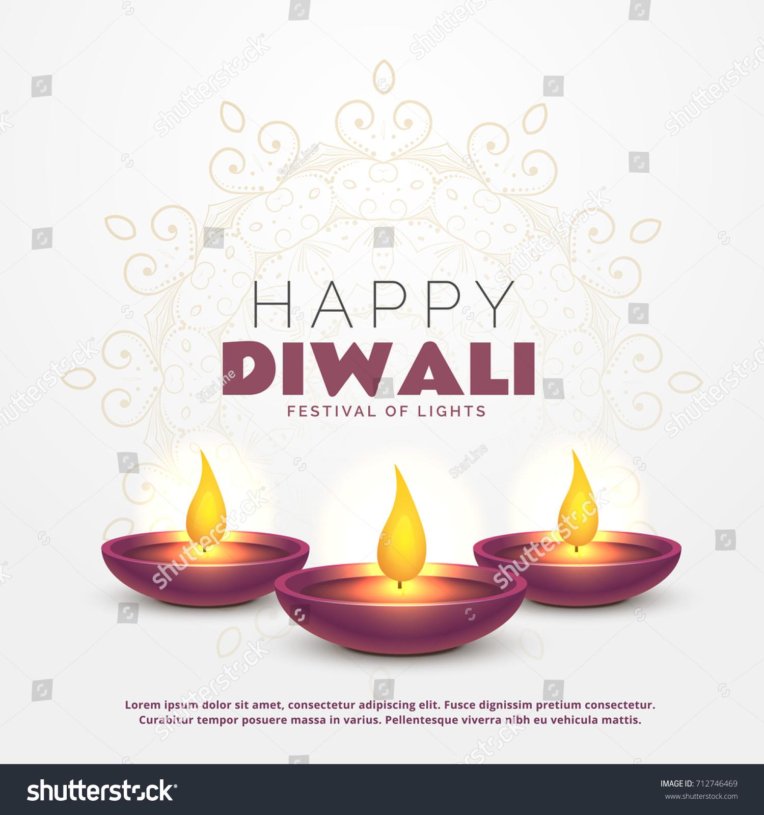 Beautiful Happy Diwali Greeting Burning Diya Stock Vector 712746469