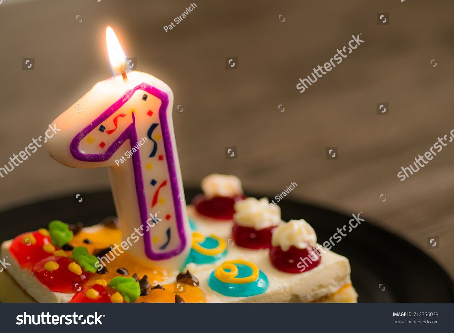 Birthday Celebrate Cakes Number One Candle Stock Photo Royalty Free
