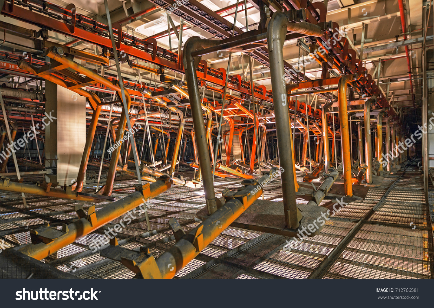 Stopped Old Giant Conveyor Abandoned Car Stock Photo (Royalty Free ... for Abandoned Car Factory  111ane