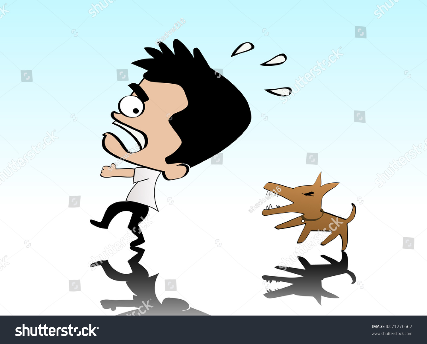 Illustration Of A Man Being Chased By A Dog 71276662