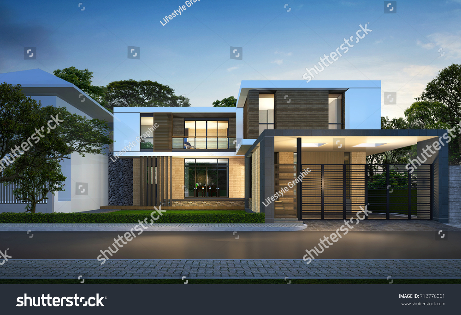 3d rendering tropical house exteriornight perspective for Modern tropical house exterior