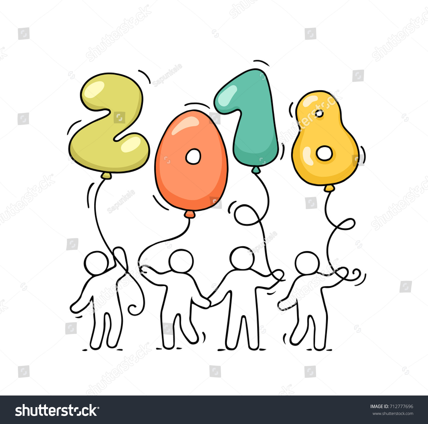 2018 happy new year background cartoon doodle illustration with little people holding balloons hand