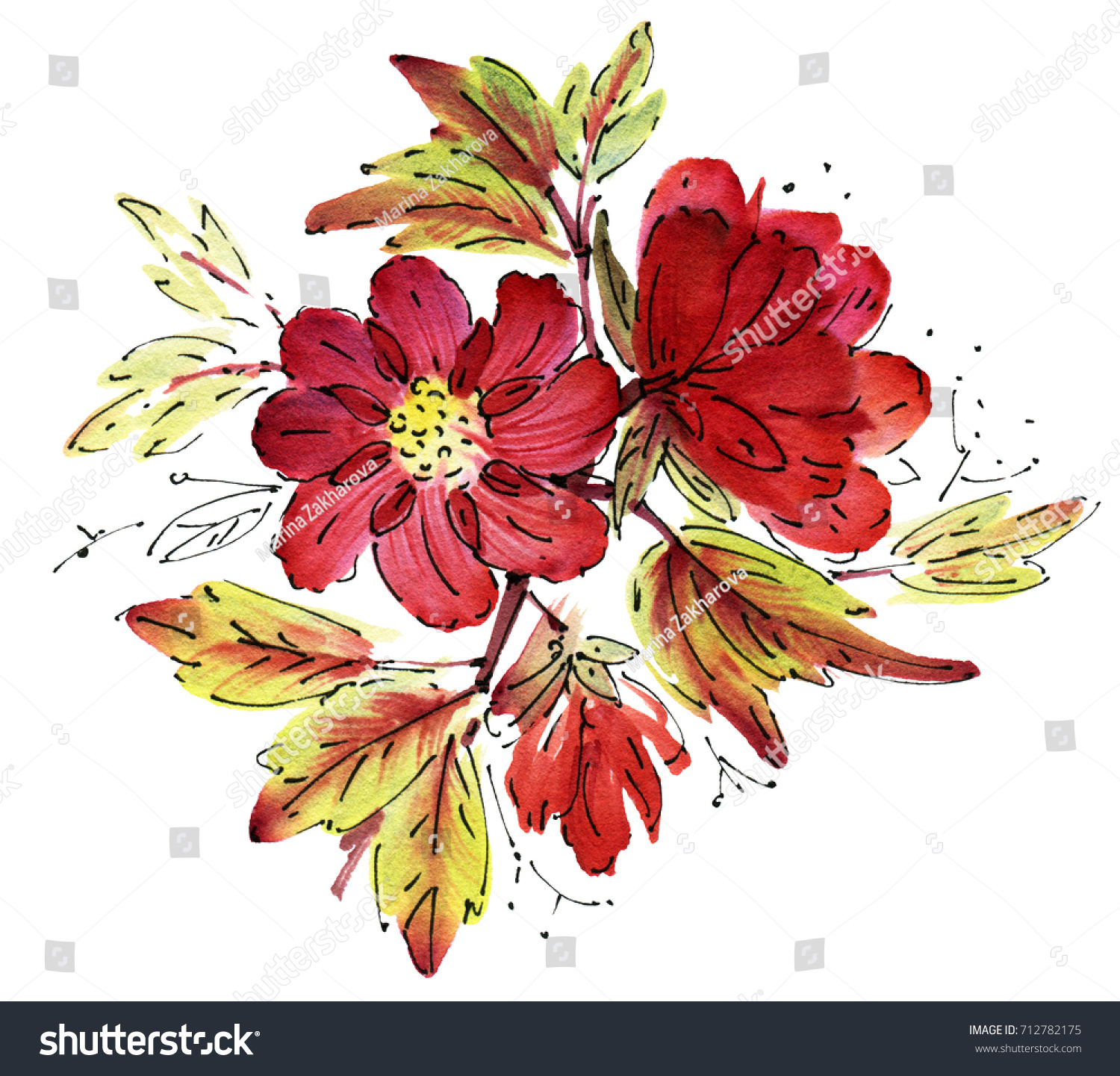 Red Watercolor Flowers Isolated On White Stock Illustration ...