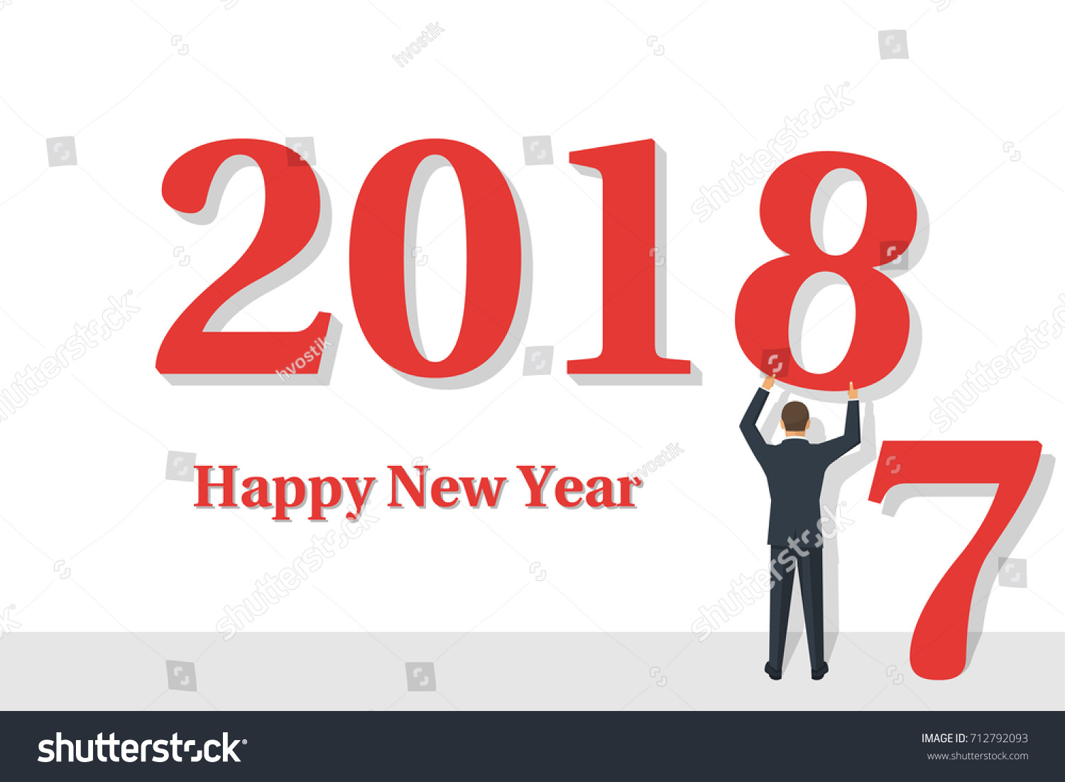 Happy New Year 2018 Businessman Holds Stock Vector Royalty Free