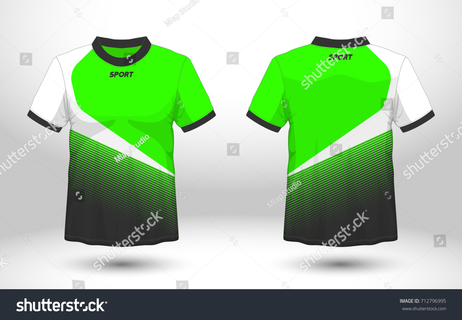 ad35c5913 Green and black layout football sport t-shirt design. Template front, back  view.