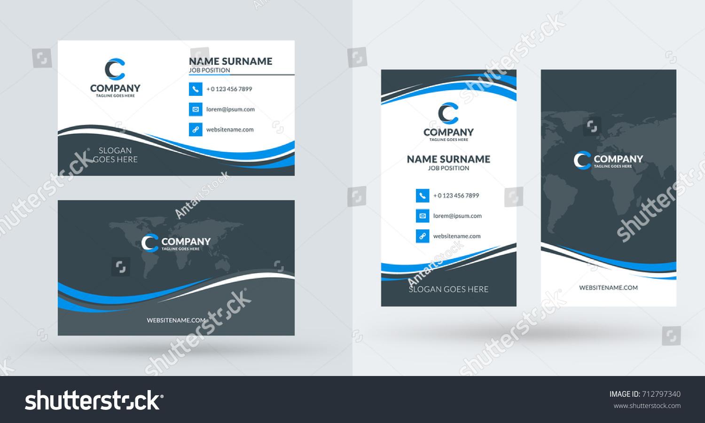 Doublesided Creative Business Card Template Portrait Stock Vector