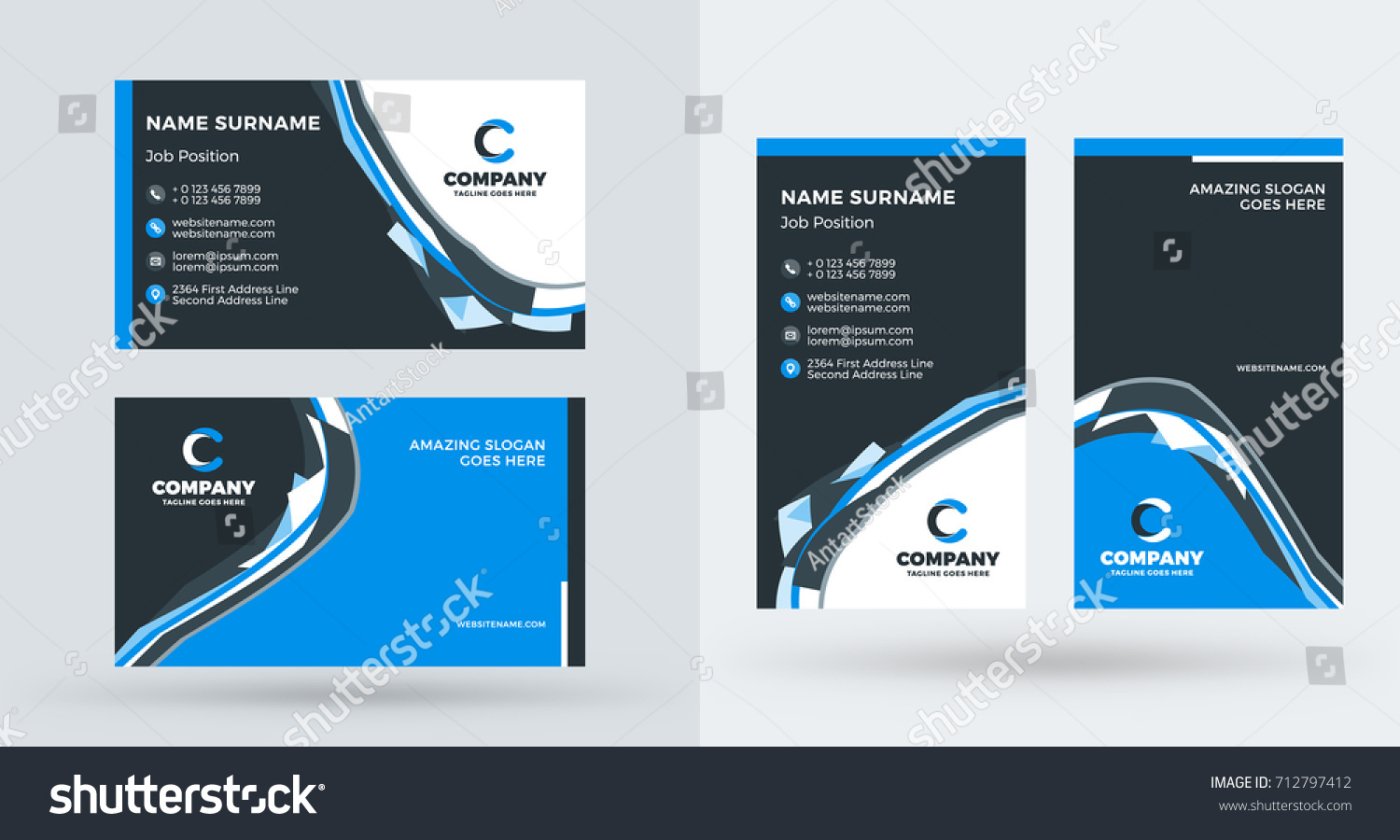 Doublesided creative business card template portrait stock vector double sided creative business card template portrait and landscape orientation horizontal and vertical cheaphphosting Images