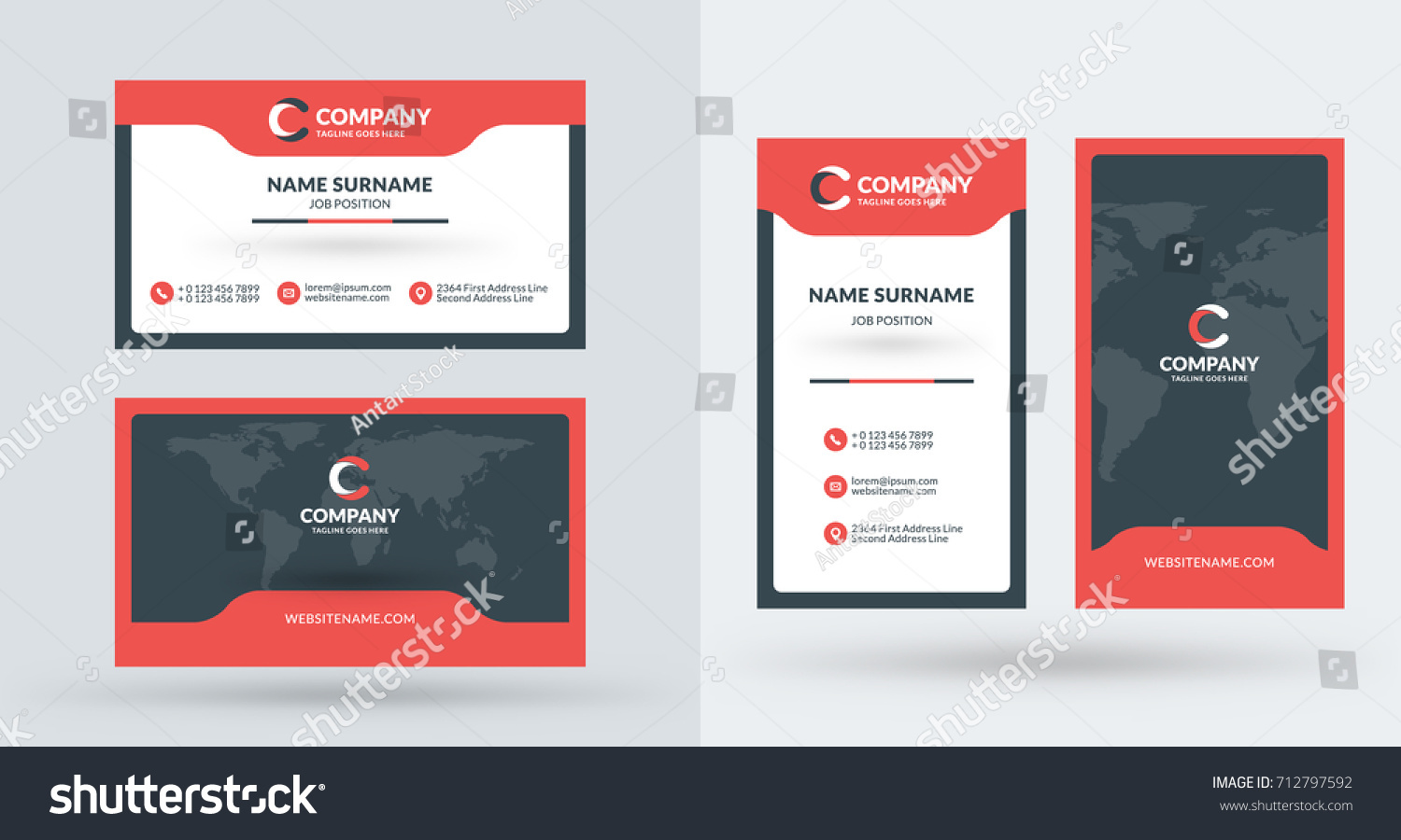 Doublesided Creative Business Card Template Portrait Stock Vector ...