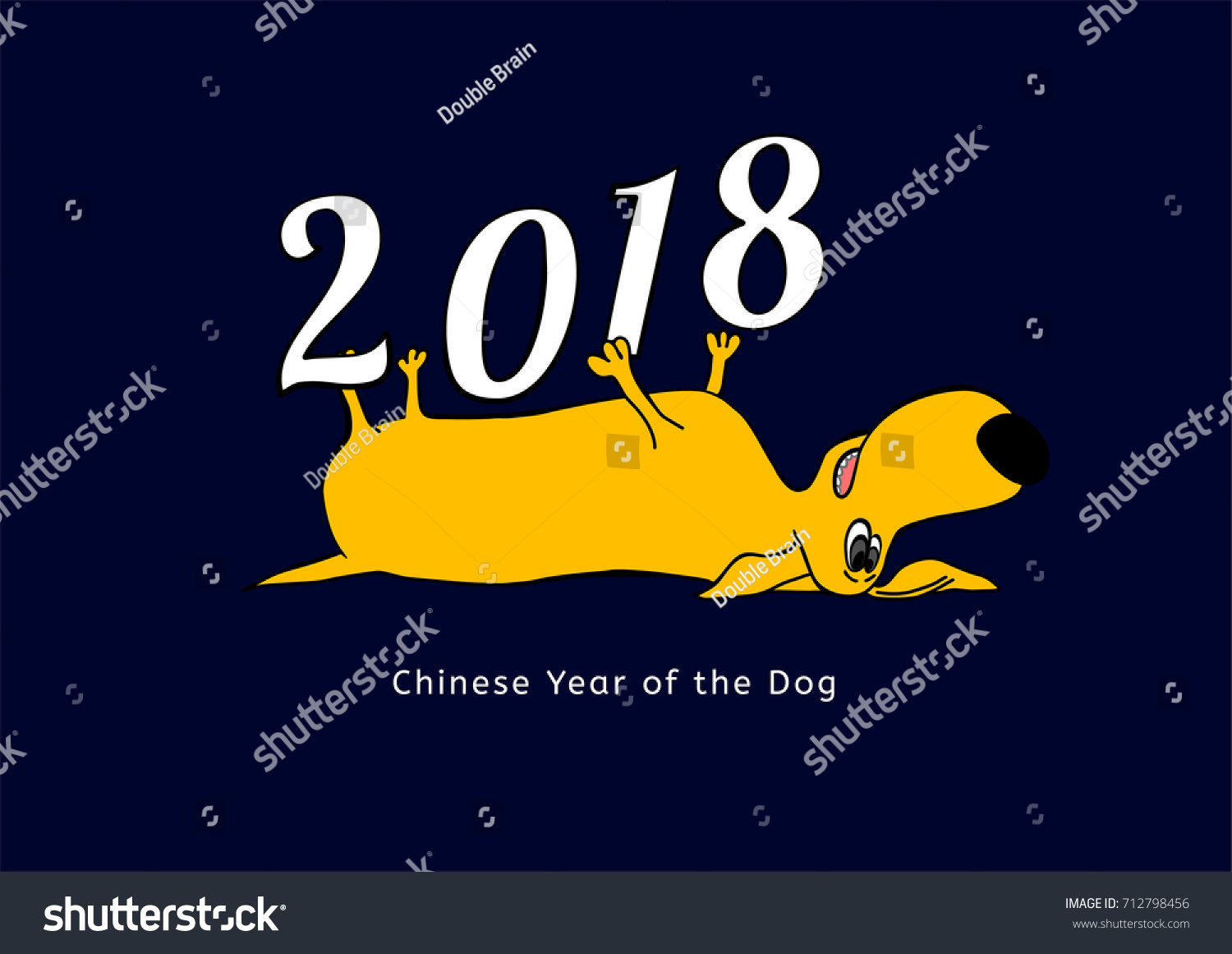 2018 happy new year greeting card stock vector 712798456 shutterstock 2018 happy new year greeting card yellow dachshund in cartoonish style with white figures on kristyandbryce Gallery