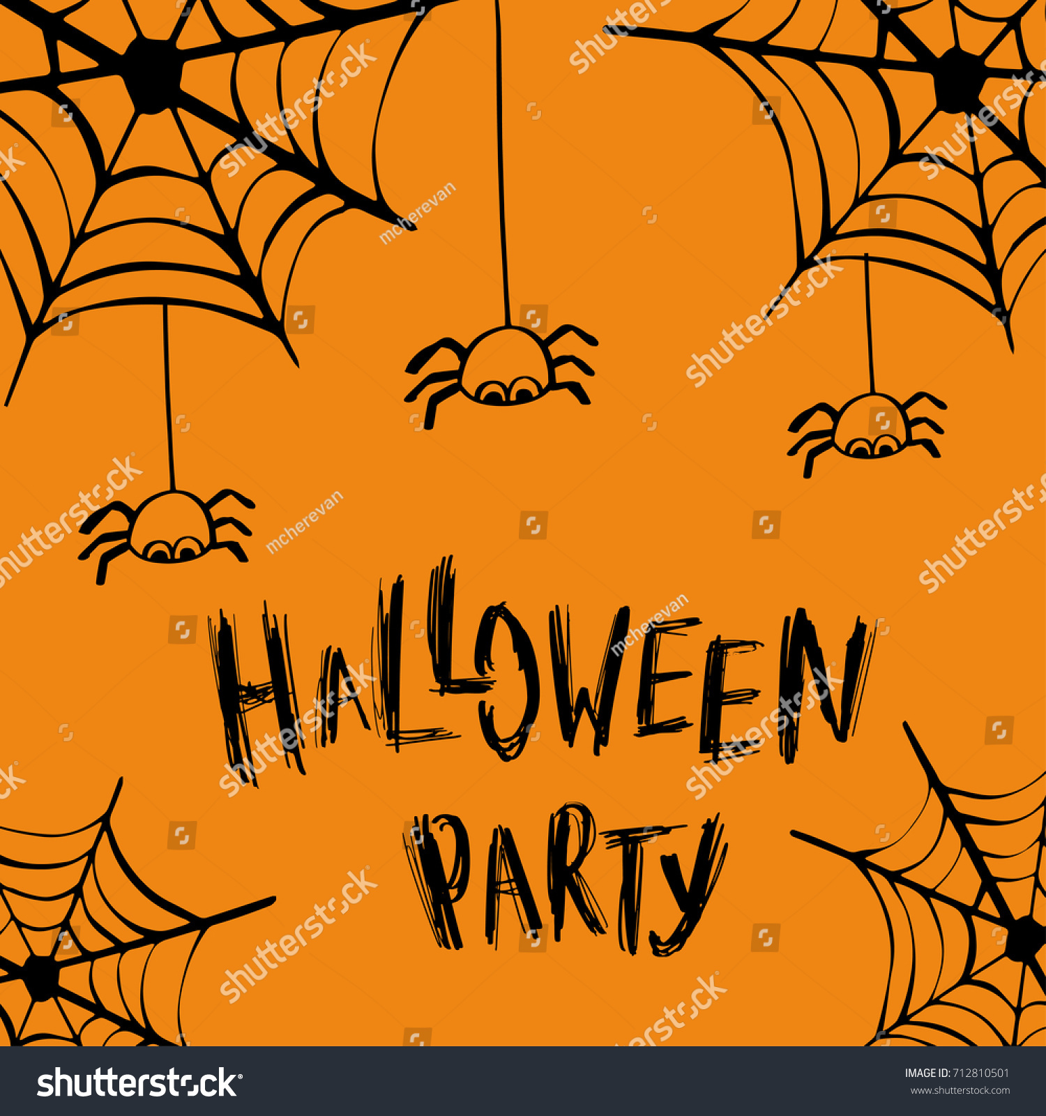 Halloween Party Invitation Card Lettering Design Stock Vector ...