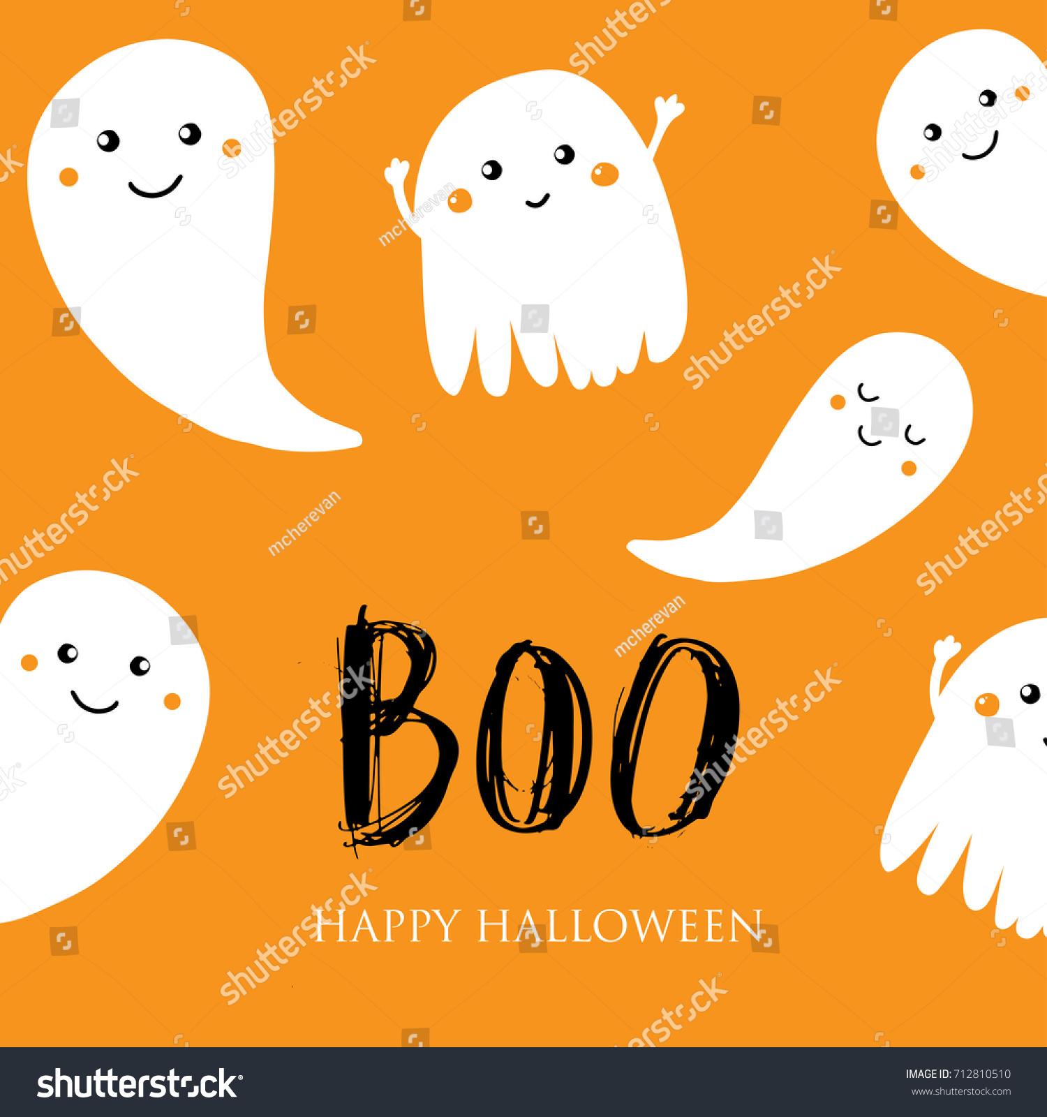 Cute Halloween Invitation Greeting Card Small Stock Vector