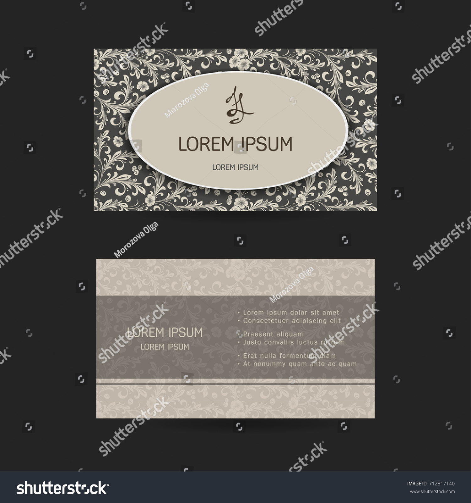 horizontal business cards oriental pattern plied stock vector