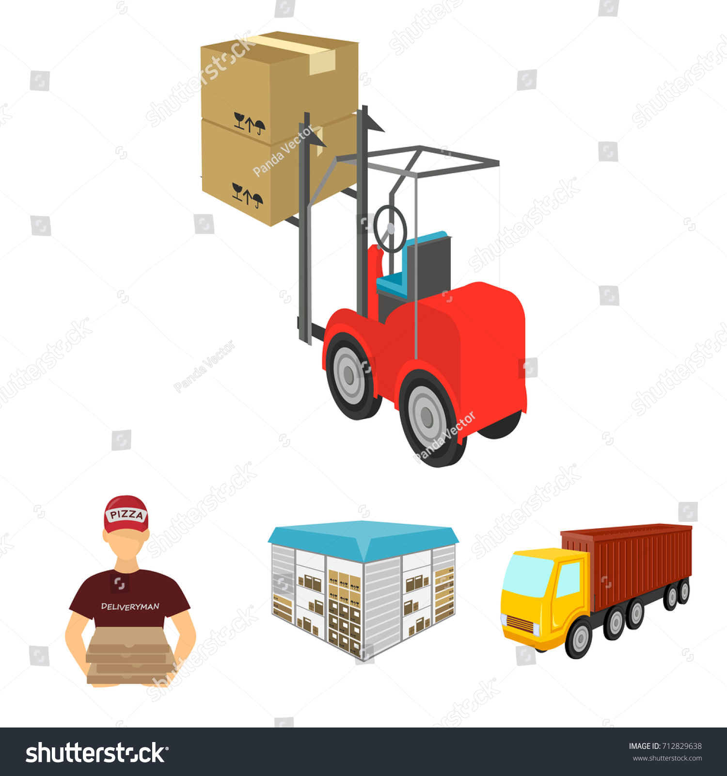 Truck, Courier For Delivery Of Pizza, Forklift, Storage Room. Logistics And  Delivery