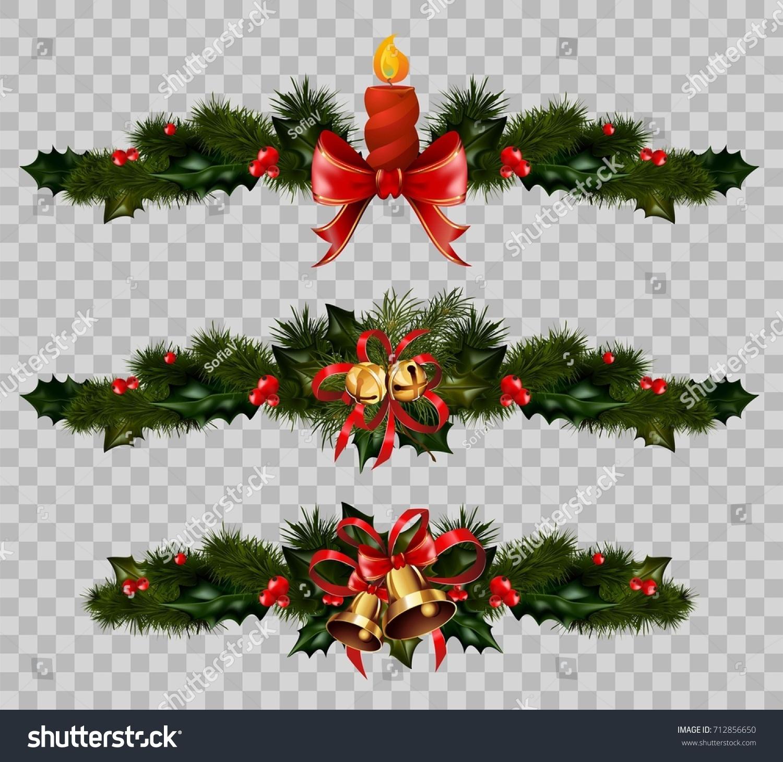 Christmas Decoration Fir Holly Wreath Bow Stock Vector