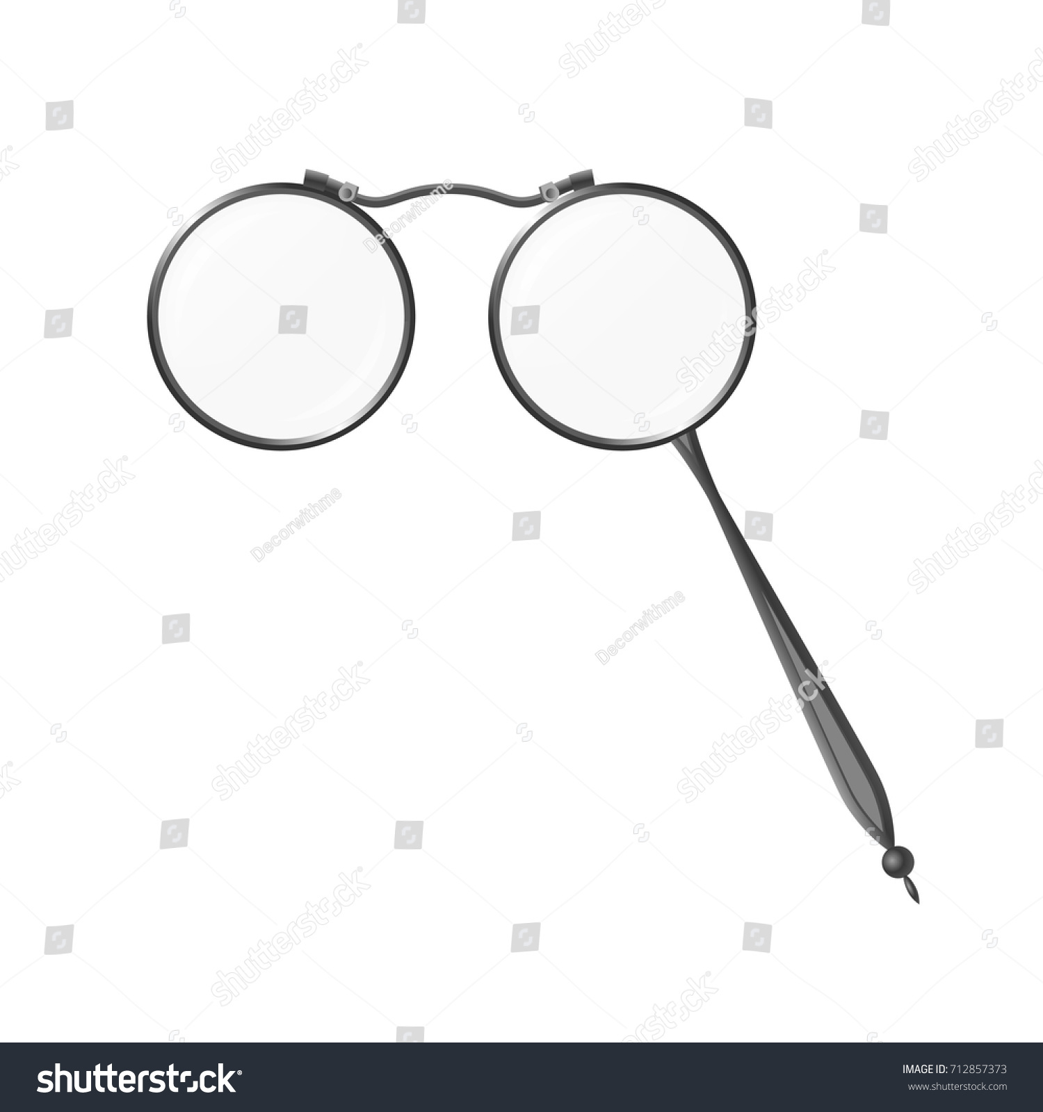 a156c3eb58 Vintage grey spectacles lorgnette - modern vector realistic isolated object  illustration on white background. Use