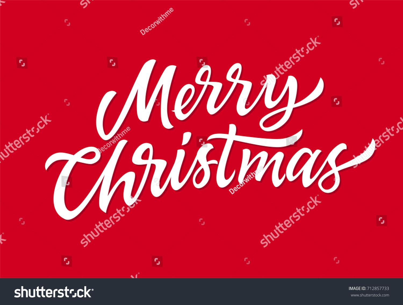 Merry Christmas - vector hand drawn brush pen lettering design on ...