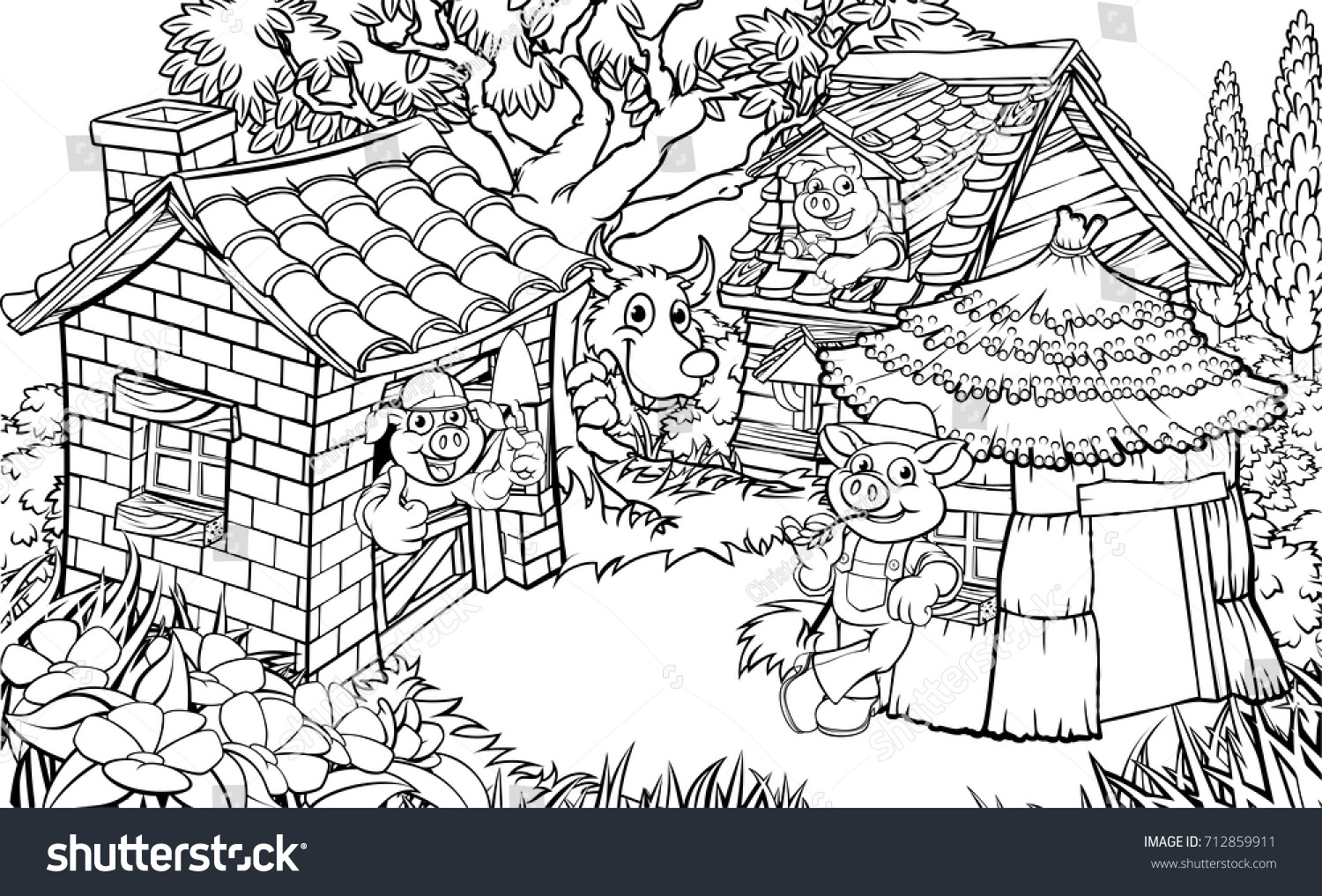 coloring scene childrens fairytale story three stock vector