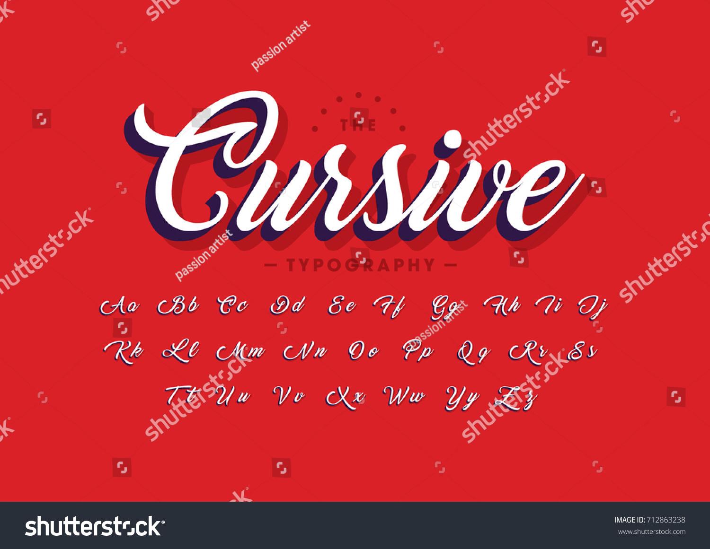Vector Modern Cursive Font Alphabet Stock Vector (Royalty Free ...