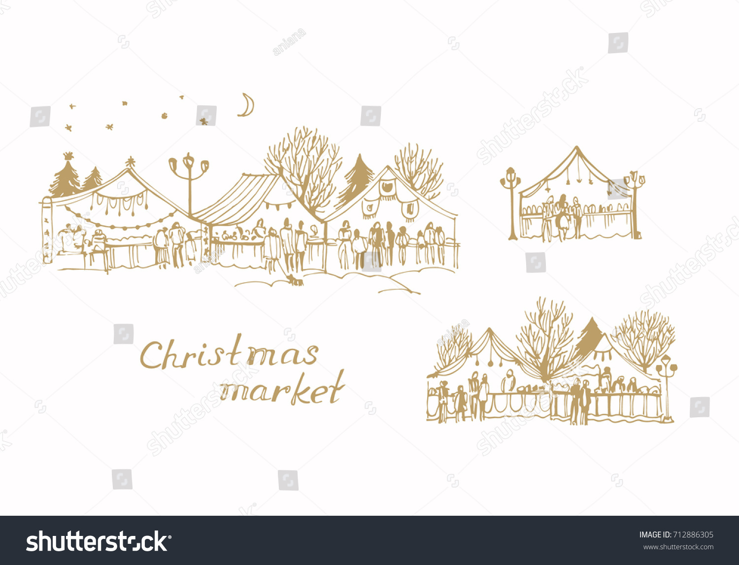 Vector Sketch Christmas Market New Years Stock Vector (Royalty Free ...