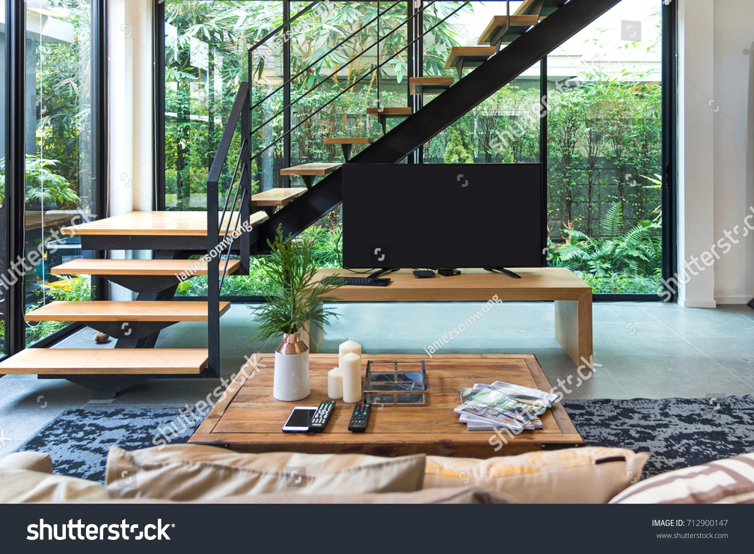 Living Room Tv Stairs Wooden Shelves Stock Photo Edit Now 712900147