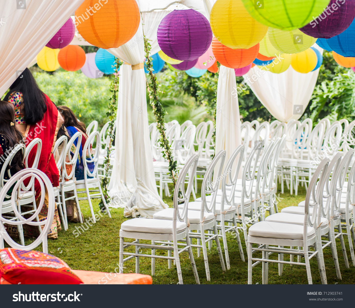 Colorful Outdoor Lawn Tent Garden Setting Stock Photo (Royalty Free ...