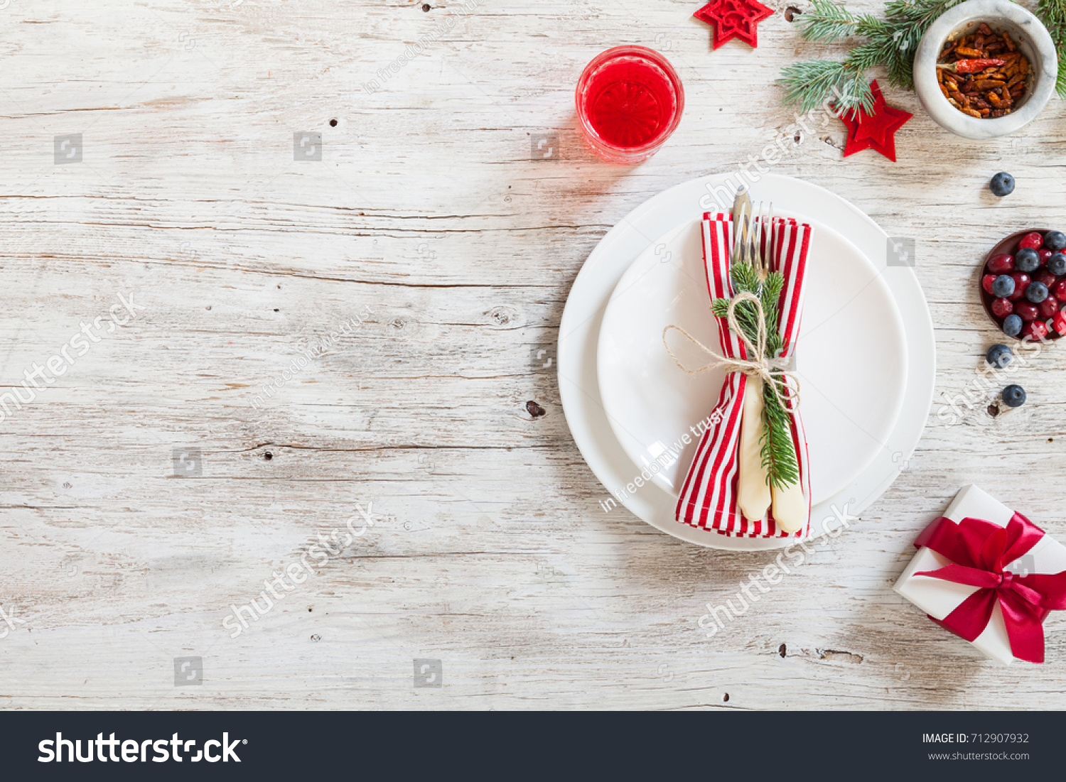christmas dinner table served empty plate stock photo