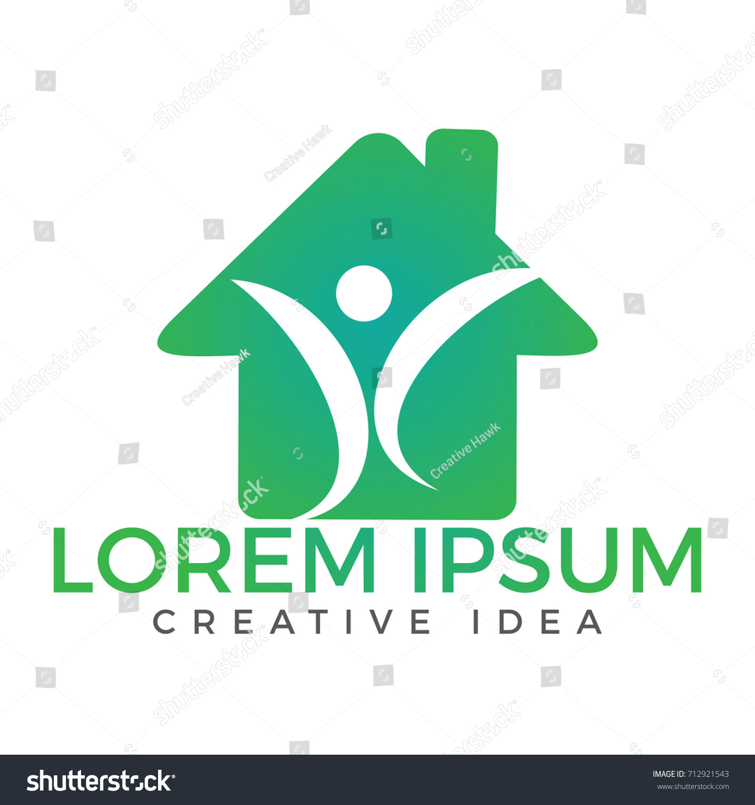 Abstract Happy Human Home Logo Design. Health Center Home Care Real Estate  Apartments Or Hotel