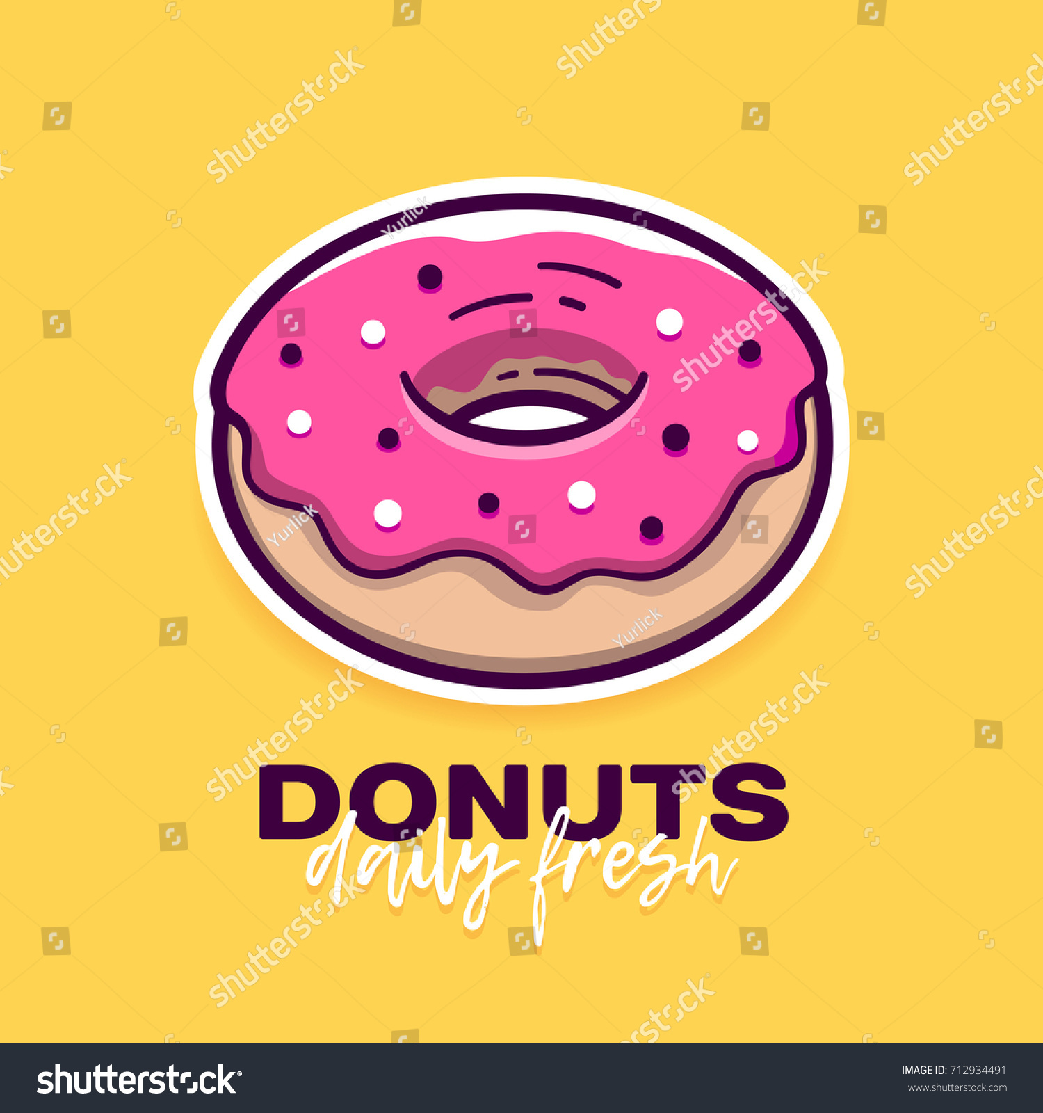 Cartoon Doughnut Factory: Donut Pink Icing Modern Flat Outline Stock Vector