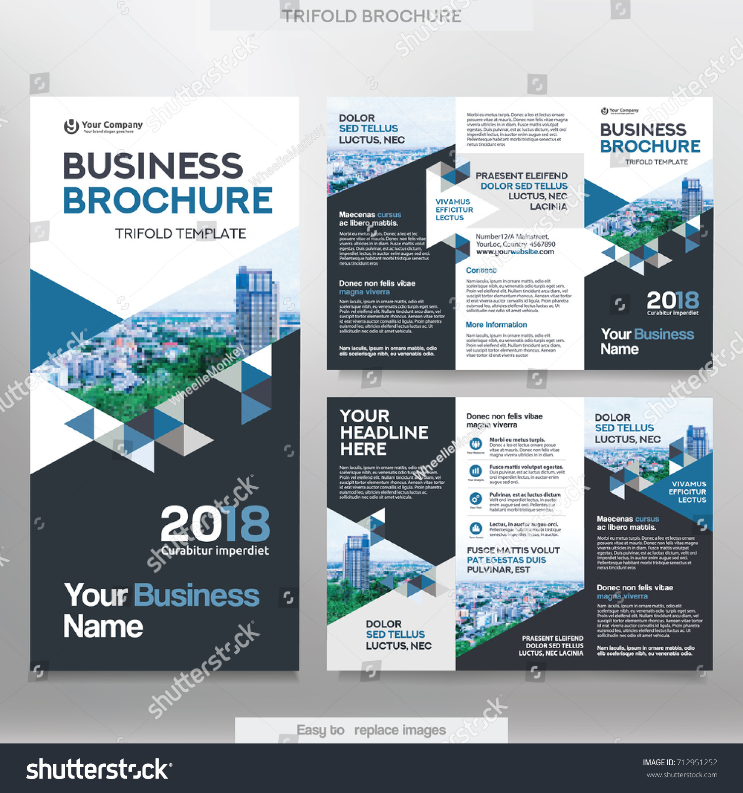 Business Brochure Template Tri Fold Layout Stock Vector HD (Royalty ...