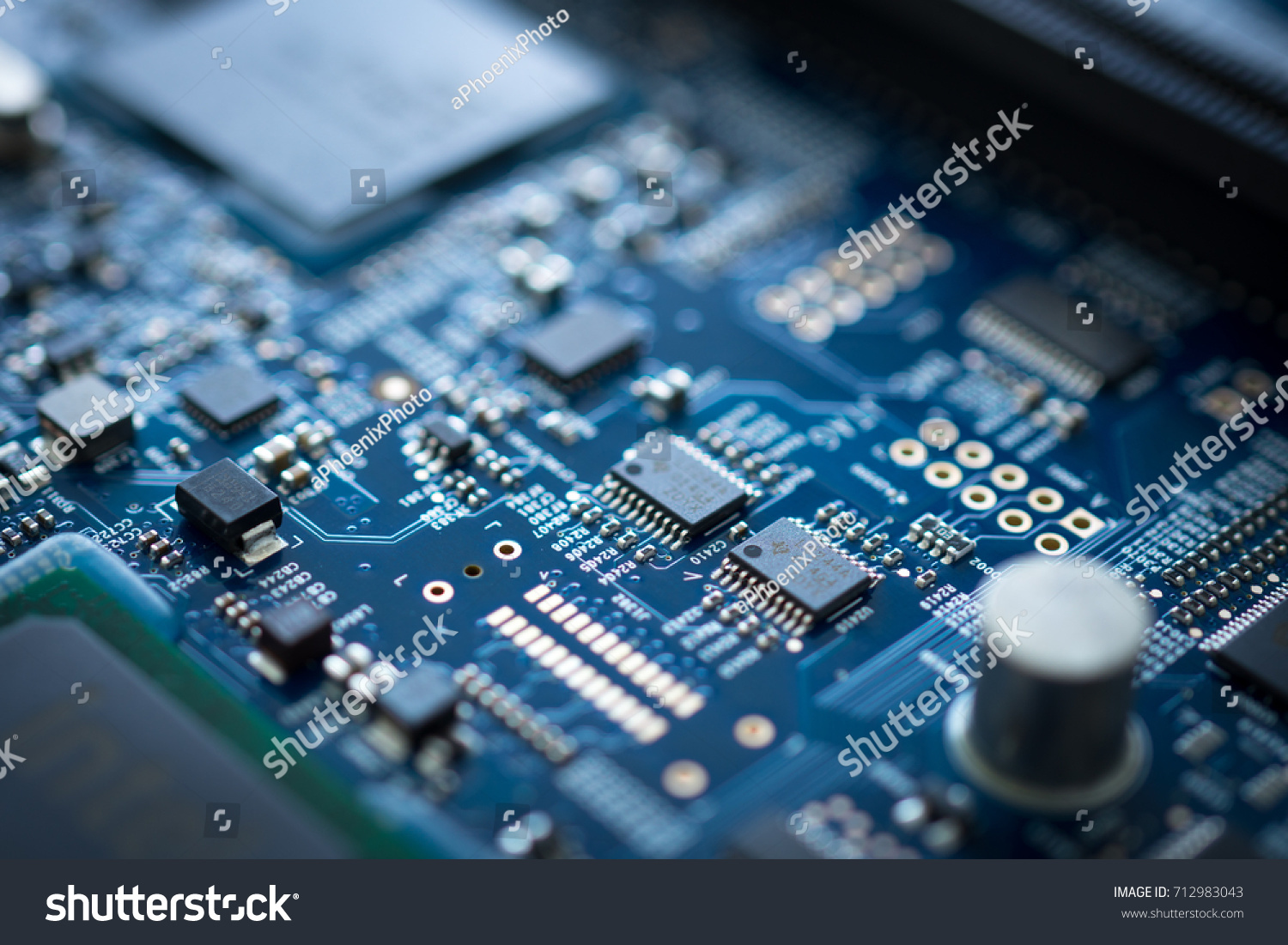 Closeup Of Electronic Device Circuit Board With Processor Background Hardware Blue Texture Technology Computer Serve Cpu Motherboard Chip Component Ez Canvas