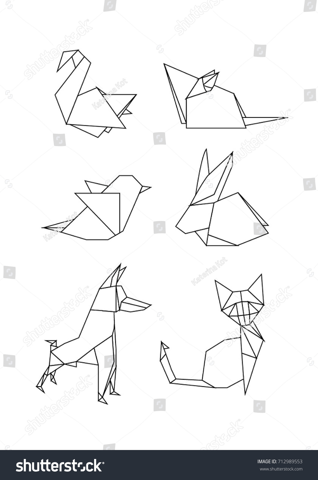 Vector Origami Animals And Birds Set Low Poly Logo Icons