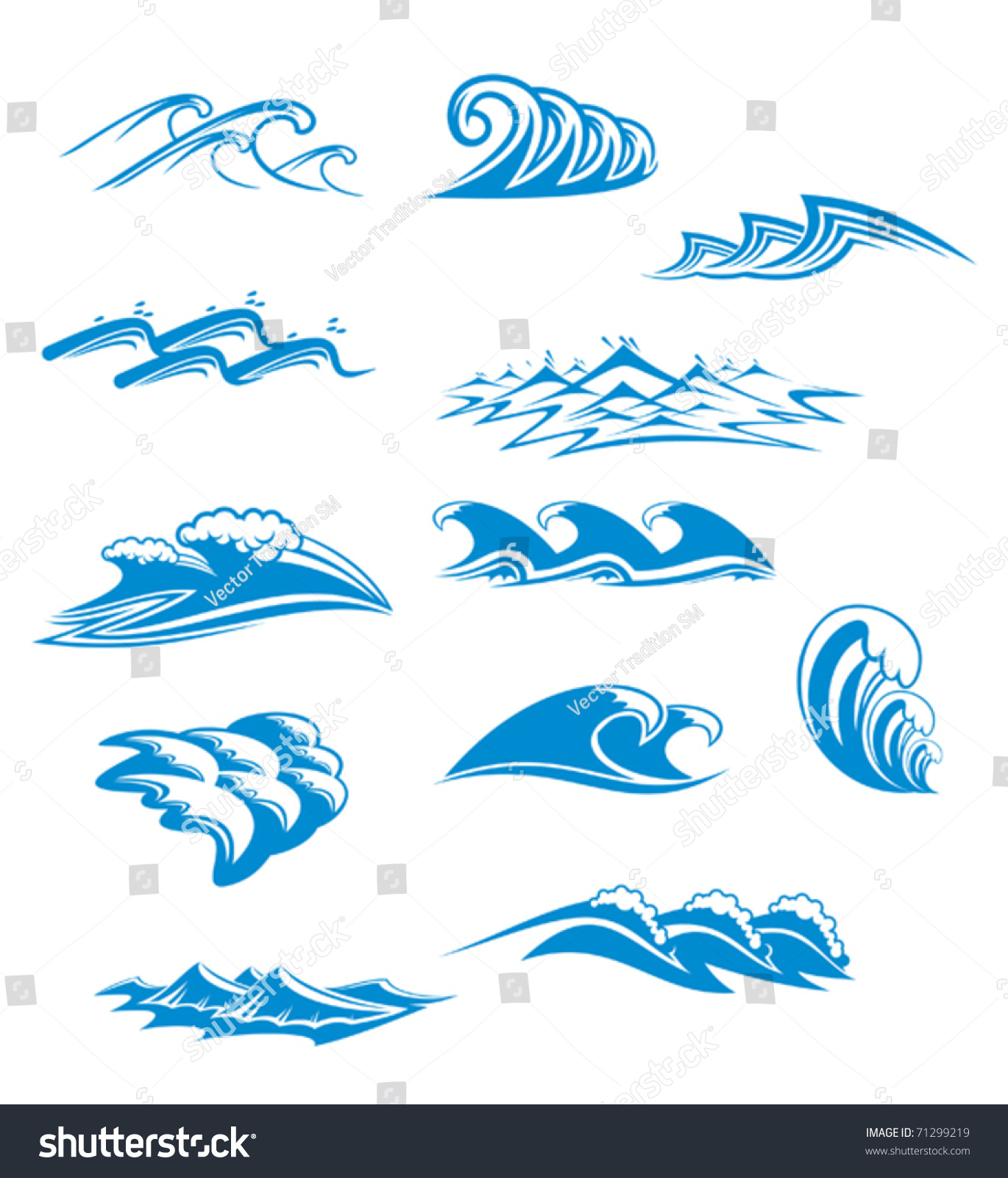 Collection wave icons blue curling cresting stock vector for Different design