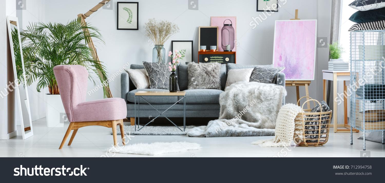 Cozy Pastel Room Vintage Furniture Pink Stock Photo (Royalty Free ...